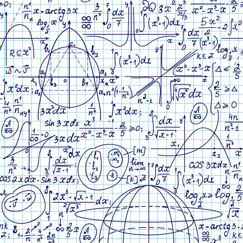 Math vector seamless background with formulas, plots and equations handwritten on a white grid copybook paper. Scientific endless educational background royalty free illustration