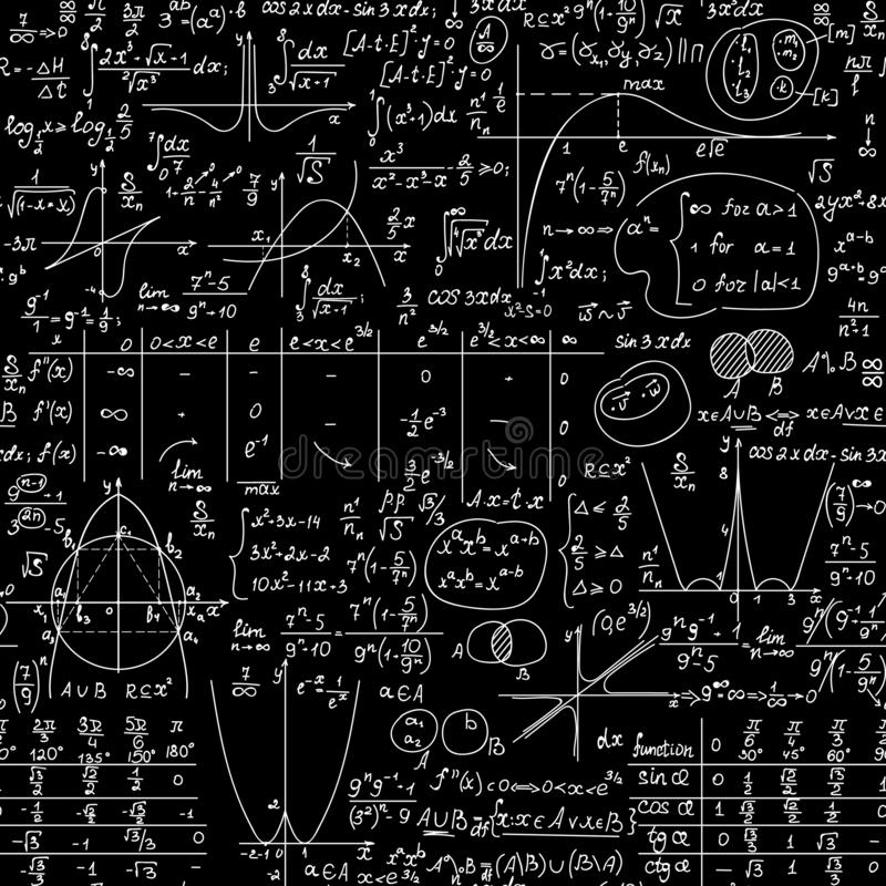 Math vector seamless educational background with formulas, equations and plots, `handwritten with chalk on a blackboard`. Scientific vector background stock illustration