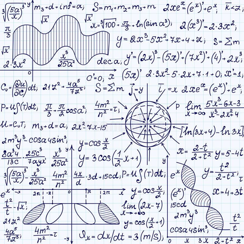 Math vector seamless pattern with science drawings, tasks solutions, plots, figures, formulas, handwritten on a copybook paper. Endless scientific texture royalty free illustration