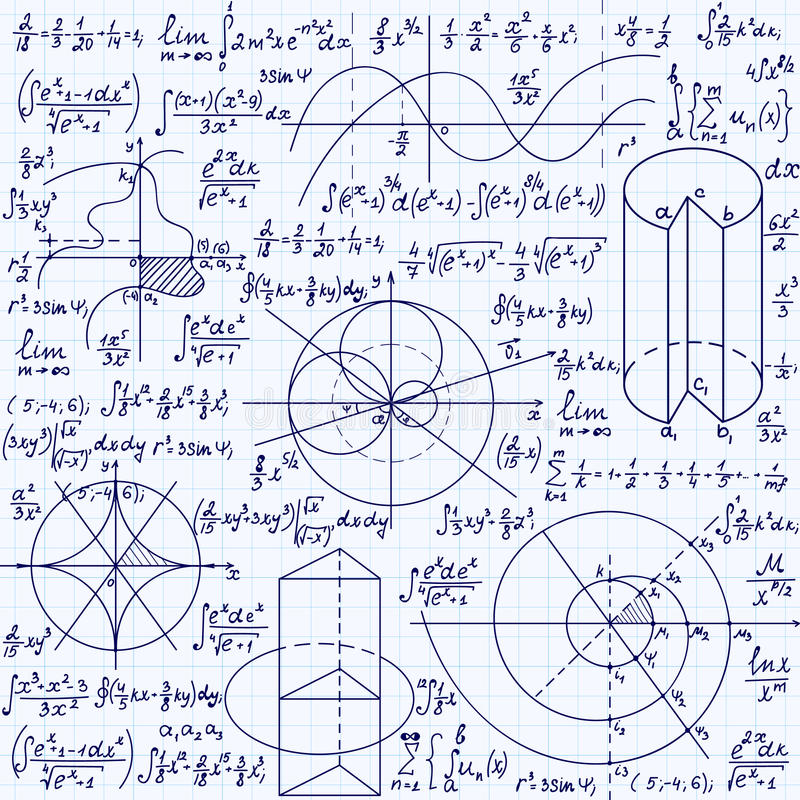Math vector seamless texture with formulas, plots, algebraic and geometric figures and functions. Handwritten on a grid copybook paper stock illustration