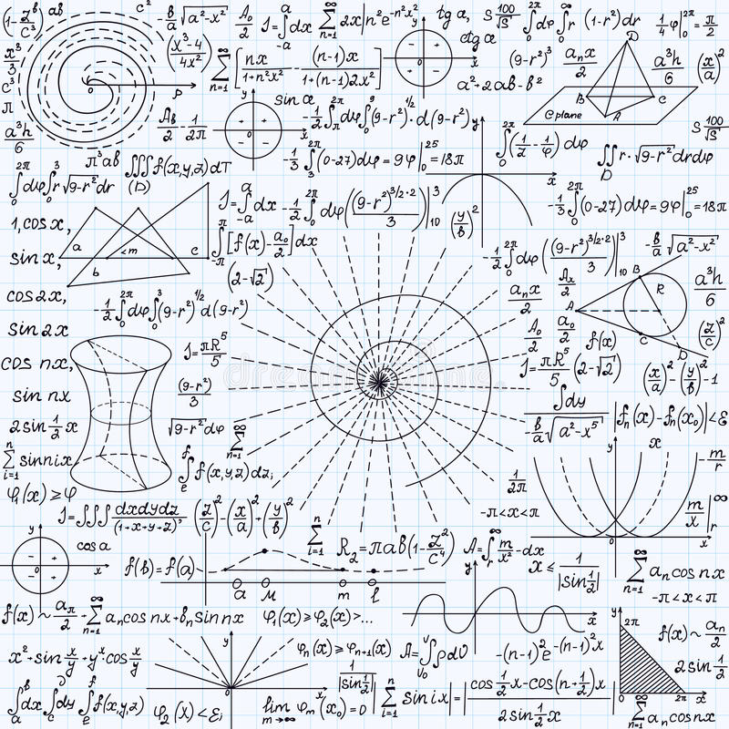 Math vector seamless texture with plots, calculations, geometrical figures and different formulas. Handwritten on a copybook grid paper vector illustration