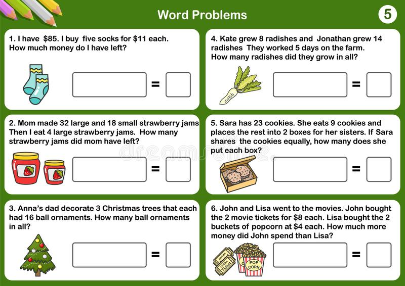Math word problem worksheets - Sheet for exam and testing. stock illustration