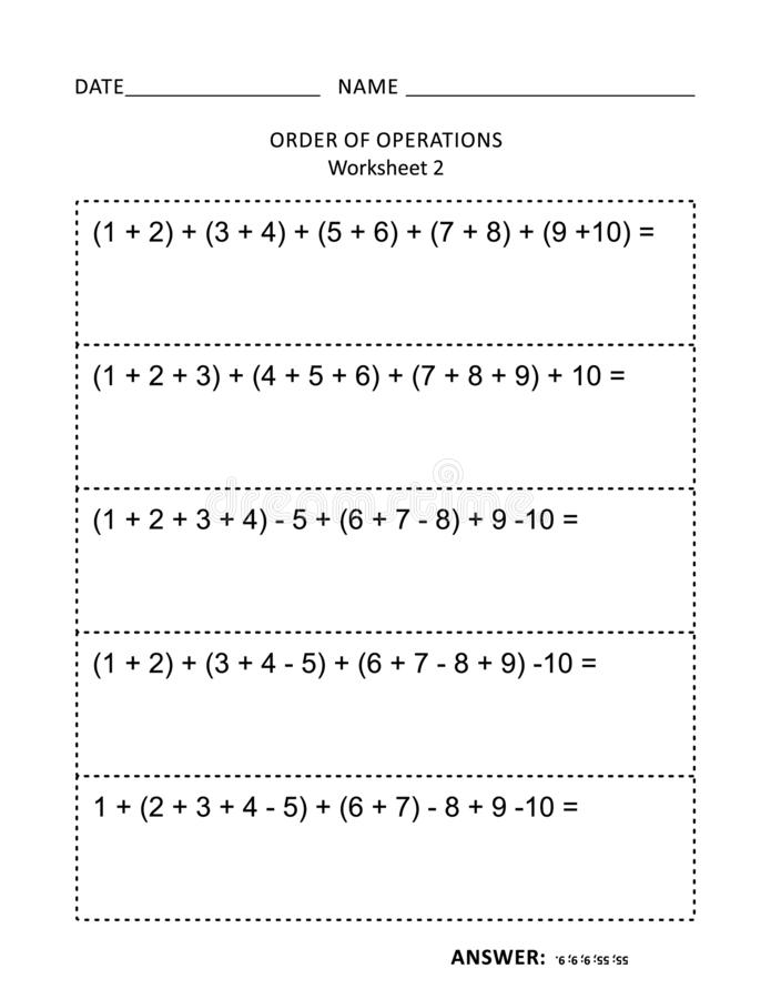 Math worksheet for children and adults. Math worksheet for students of all ages. Learn, reinforce math skills for children. Prevent alzheimer for adults. Mental royalty free illustration