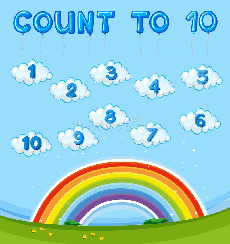 Math Worksheet With Counting To Ten With Rainbow In Sky Stock Vector ...