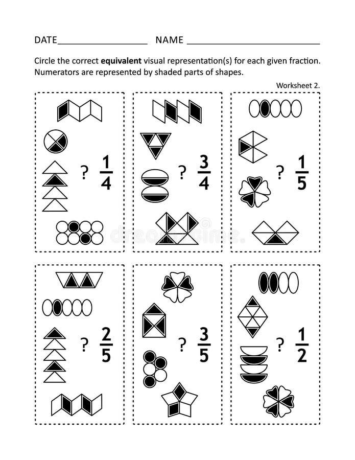 Math worksheet for children and adults. Math worksheet for students of all ages. Learn, reinforce fractions math skills for children. Prevent alzheimer for vector illustration