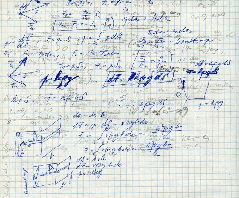 Mathe auf dem sqare Papier f stockbild