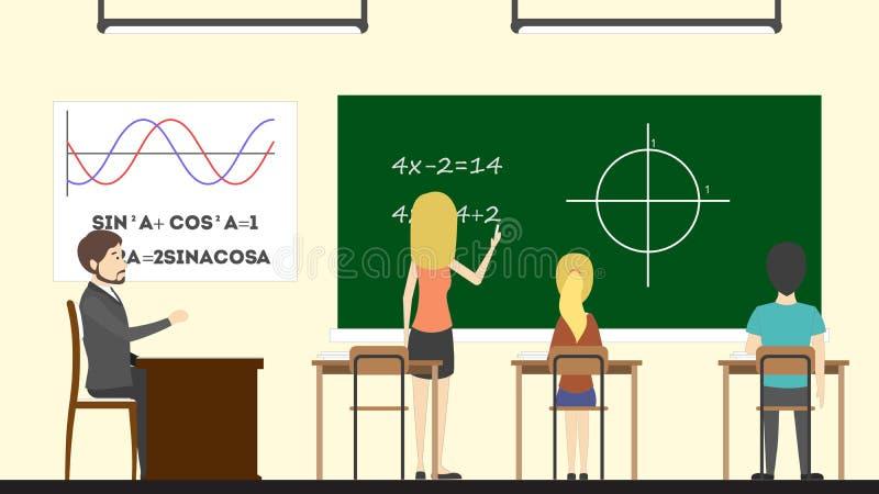 Download Mathe in der Klasse vektor abbildung. Illustration von klassenzimmer - 90227664