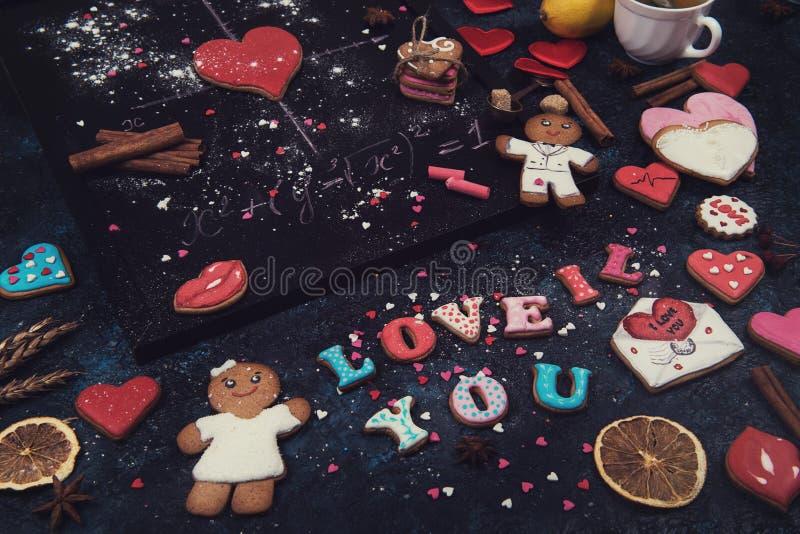 Mathe, Herzen, Formel der Liebe stockbild