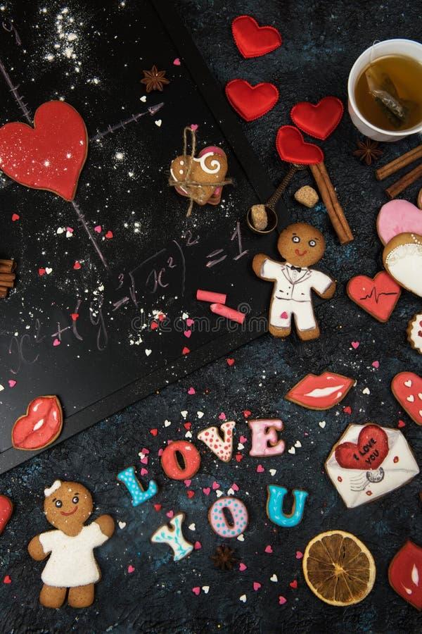 Mathe, Herzen, Formel der Liebe lizenzfreies stockfoto
