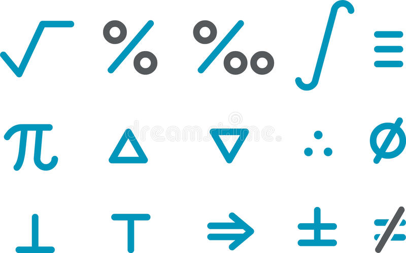 Mathe-Ikonen-Set stock abbildung
