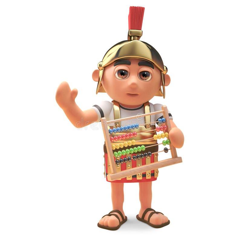 Mathe kümmerte sich den um römischen Befehlshabersoldaten, der einen Abakus, Illustration 3d hält lizenzfreie abbildung