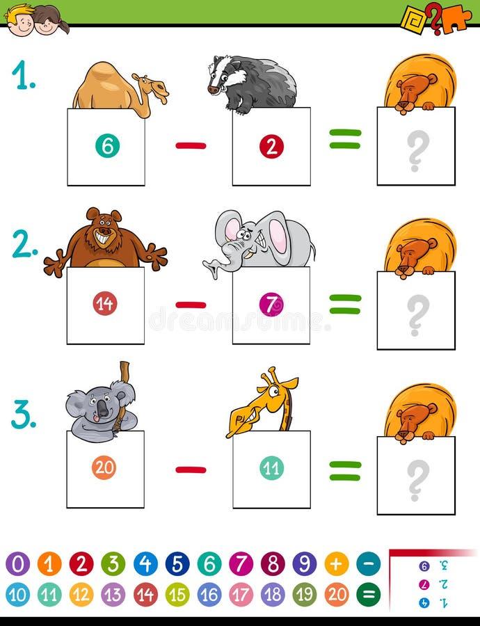 Matheabzugspiel mit Tieren vektor abbildung