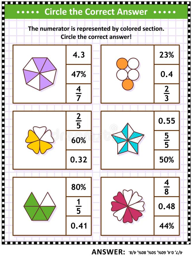 Mathefähigkeitstrainingspuzzlespiel oder -arbeitsblatt mit Sichtbrüchen stock abbildung