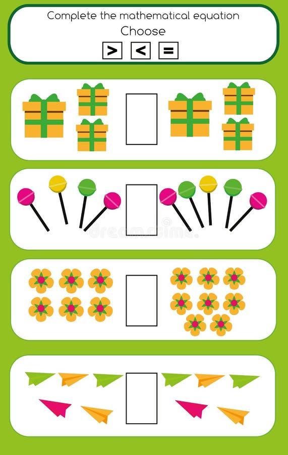 Mathelernspiel für Kinder Schließen Sie die mathematische Gleichungsaufgabe ab, wählen Sie mehr, weniger oder Gleichgestelltes stock abbildung