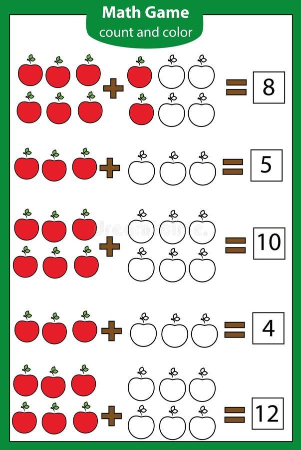 Mathelernspiel für Kinder Zählung von Gleichungen Zusatzarbeitsblatt vektor abbildung