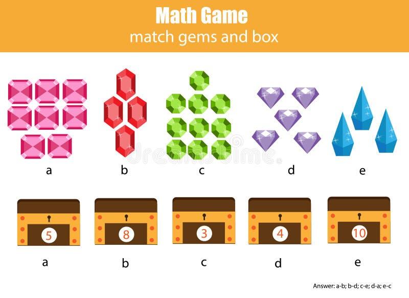 Mathelernspiel für Kinder Zusammenpassende Mathematiktätigkeit Zählung des Spiels für Kinder stock abbildung