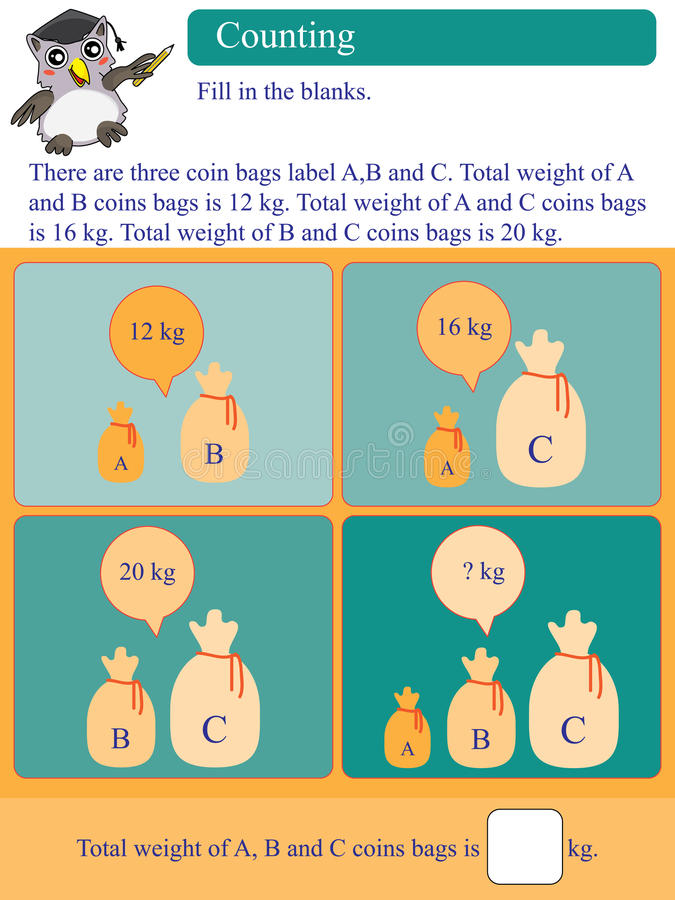 Free Mathematic Calculation Kilogram Coin Bags Stock Photography - 43937902