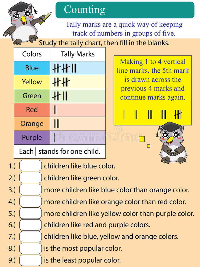 Mathematic counting tally chart stock illustration