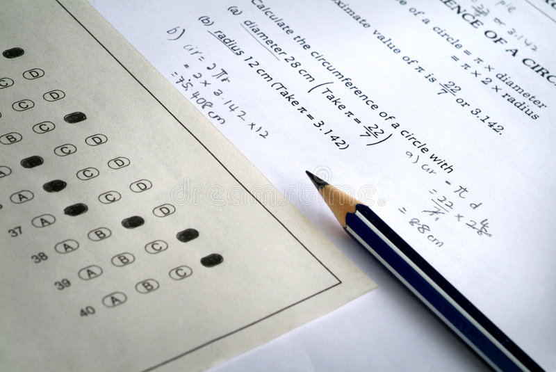 Mathematic exam paper royalty free stock images