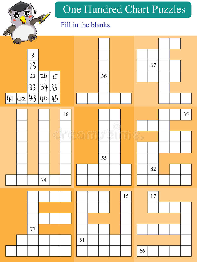 Mathematic One Hundred Chart Puzzles 2. Illustration design mathematic one hundred chart puzzles orange white background numbers vector illustration
