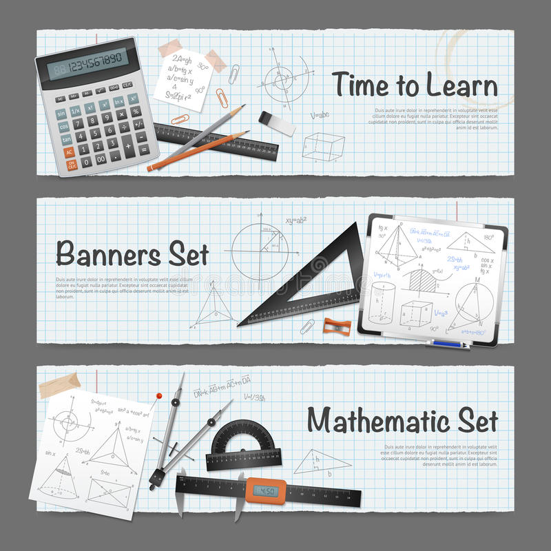 Mathematic Science Banners Set stock illustration
