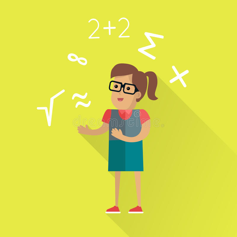 Mathematical Calculations Concept in Flat Design. Calculations vector concept in flat design. Female character in glasses surrounded mathematical symbols vector illustration