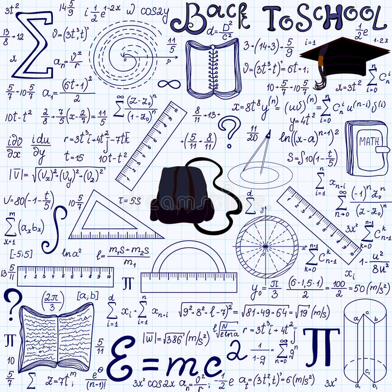 Mathematical educational vector seamless pattern with geometry figures, plots, equations, words Back to school. And other school tools, handwritten on the grid vector illustration