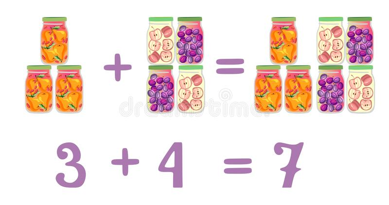 Mathematical examples in addition to fun glass jars. Plum, pear and apple compote. Mathematical examples in addition to fun glass jars. Vector illustration stock illustration