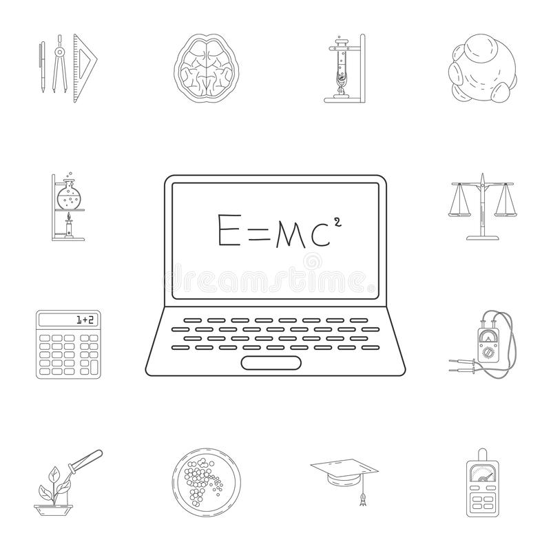 mathematical formula on a laptop icon. Detailed set of Science. Premium quality graphic design icon. One of the collection icons f royalty free illustration
