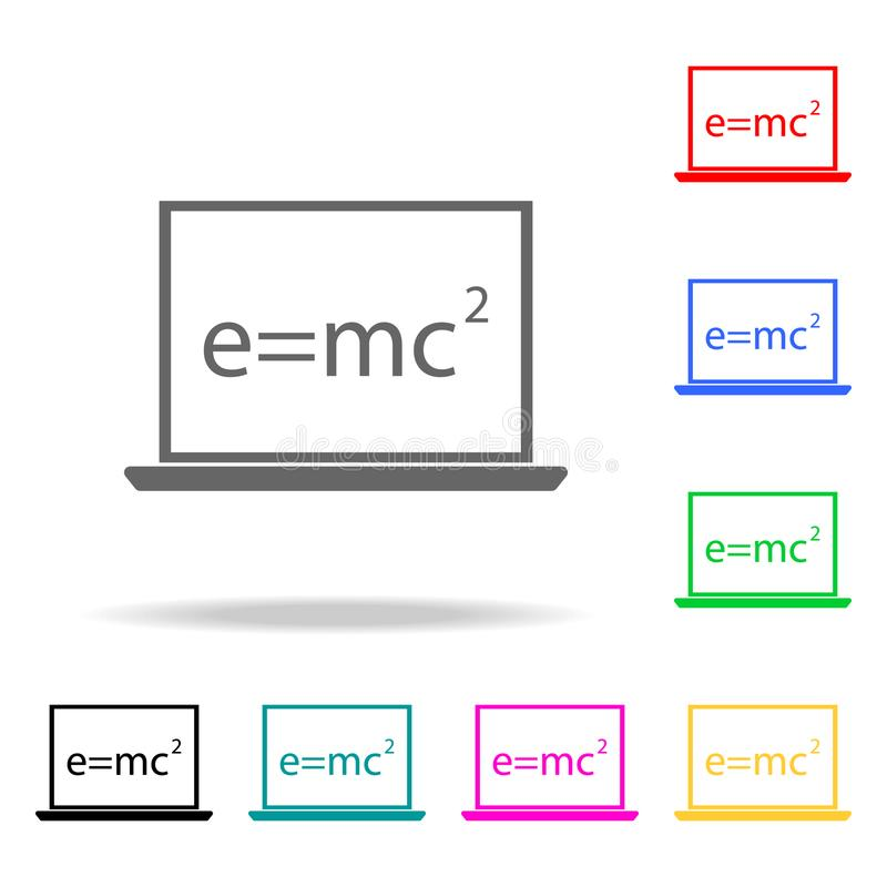 mathematical formula on a laptop icon. Elements of School and study multi colored icons. Premium quality graphic design icon. Simp royalty free illustration