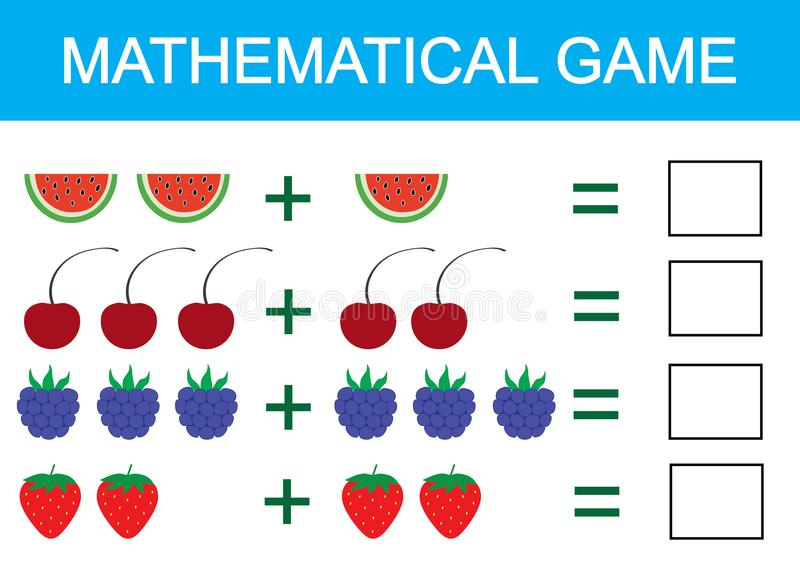 Mathematical game for children. Learning addition for kids, counting activity. Vector illustration royalty free illustration