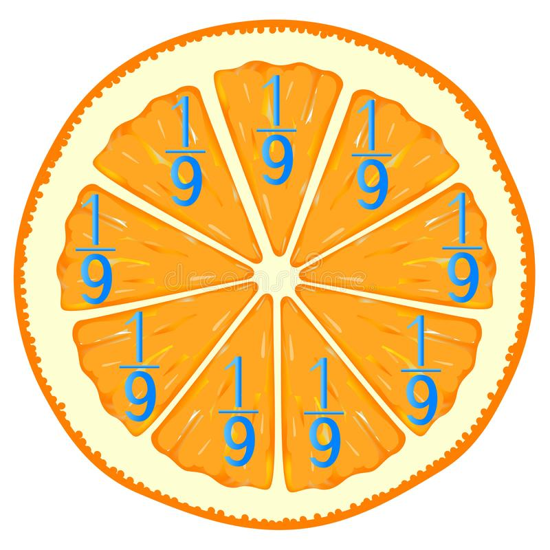 Mathematical games for children. Study the fractions numbers, example with orange. royalty free illustration