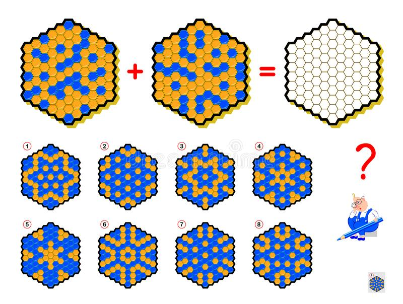 Mathematical logic puzzle game for children and adults. What sign should be in empty hexagon? Draw him. Printable page for brain teaser book. Developing vector illustration