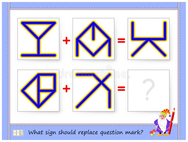 Mathematical logic puzzle game for children and adults. What sign should replace question mark? Draw him. Printable page for brain teaser book. Developing royalty free illustration