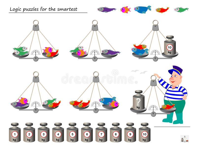 Mathematical logic puzzle game. Help the fisherman to calculate the weight of fish. What weight must put on weighing scales?. Printable page for brainteaser vector illustration