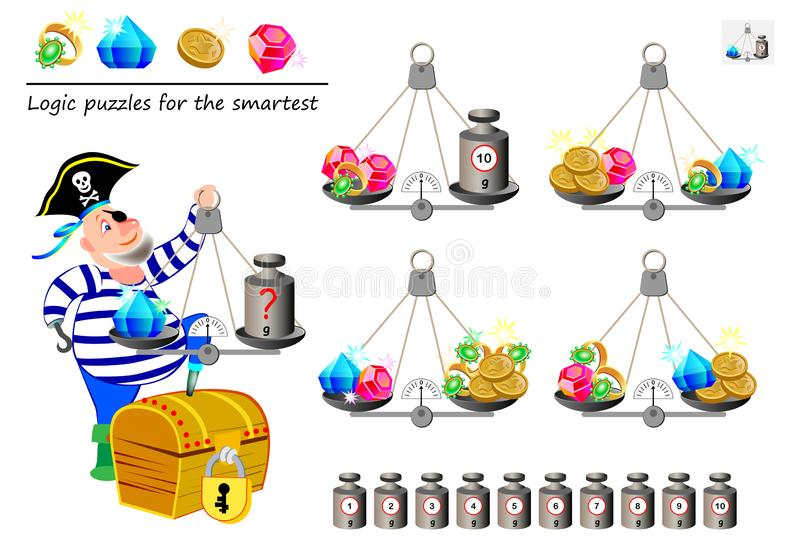 Mathematical logic puzzle game. Help the pirate calculate the weight of diamond. What weight must he put on weighing scales? royalty free illustration