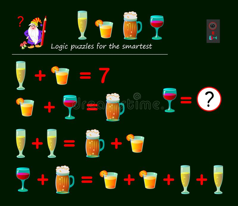 Mathematical logic puzzle game for smartest. Solve examples and count which of numbers corresponds to each of drink. Printable page for brainteaser book royalty free illustration