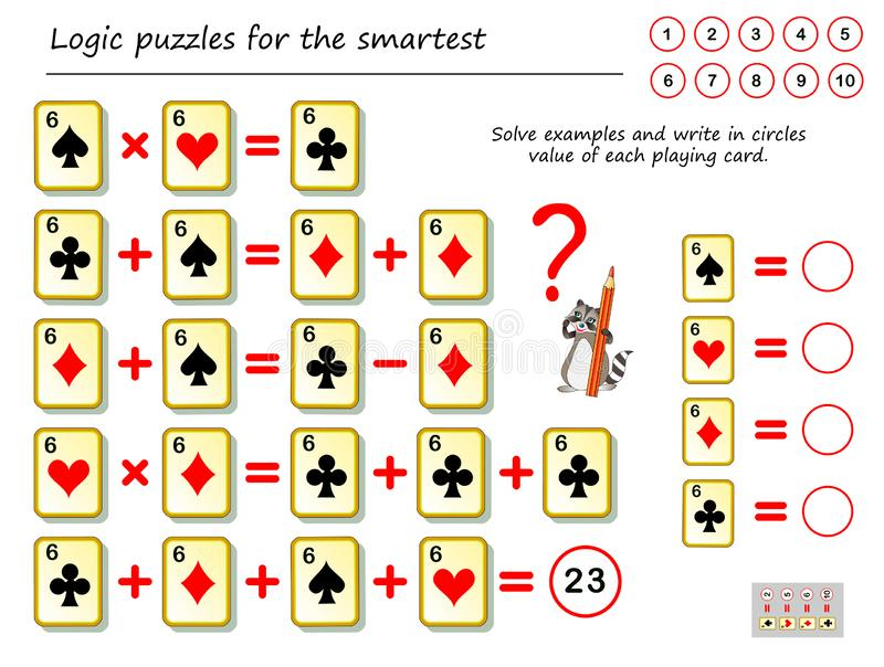 Mathematical logic puzzle game. Solve examples and count the value of each playing card. Write numbers in circles. Printable page for brain teaser book stock illustration