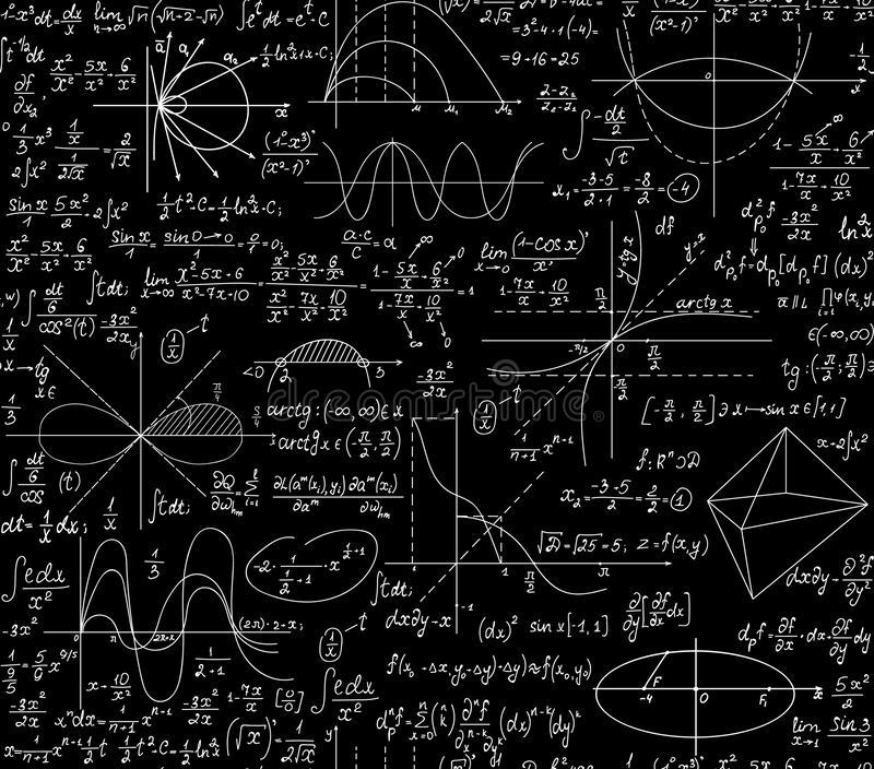 Mathematical scientific vector seamless background with geometry plots, formulas and calculations. You can use any color of background royalty free illustration