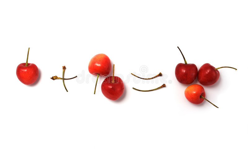 Mathematical sweet cherry. The mathematical formula from a sweet cherry stock image