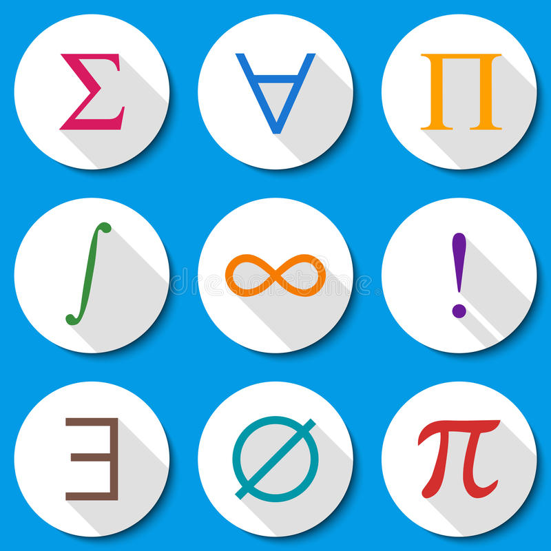Mathematical Symbols Modern Flat Vector Illustration Education Theme