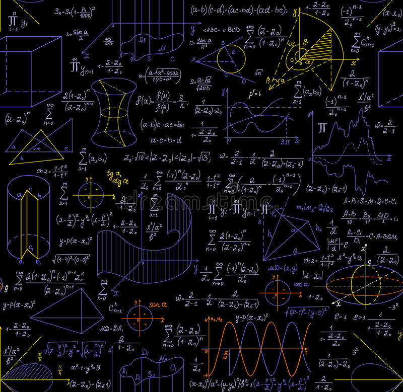 Mathematical vector seamless pattern with figures, formulas, plots, geometry tasks and other calculations. Handwritten on the copybook paper, different colors stock illustration