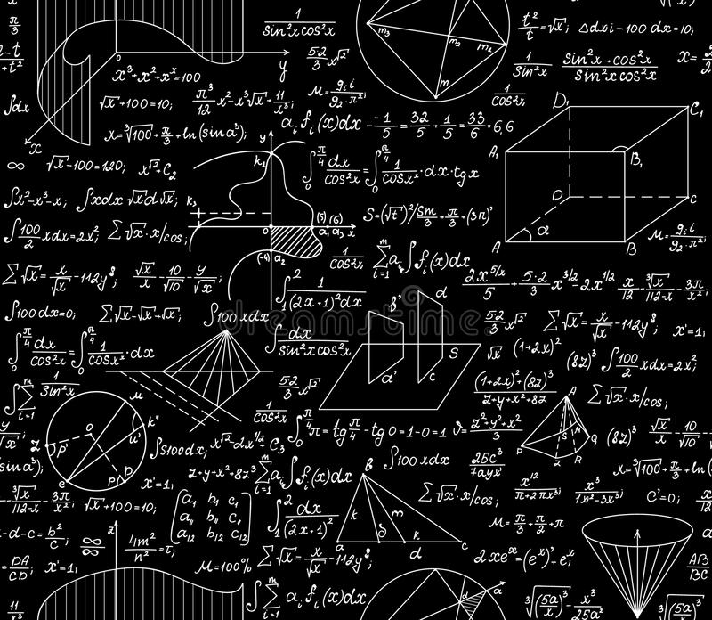 Mathematical vector seamless pattern with formulas, plots, functions, equations and algebraic and geometric figures. Mathematical vector seamless pattern with vector illustration