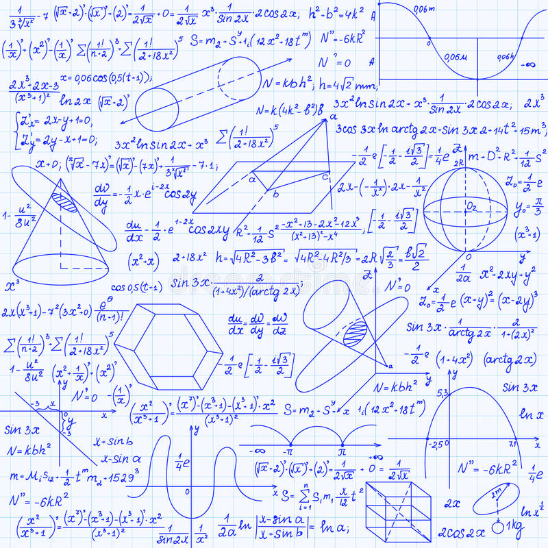 Mathematical vector seamless pattern with geometrical figures, plots and equations, handwritten on the grid copybook paper. Endless math texture royalty free illustration