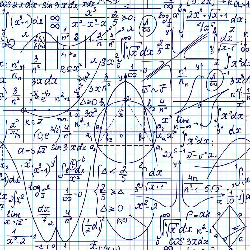 Mathematical vector seamless pattern with geometrical figures, plots and formulas, `handwritten on a grid copybook paper`. Math endless texture stock illustration
