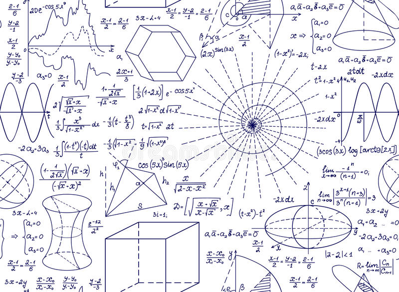 Mathematical vector seamless pattern with plots, figures and formulas. Endless mathematical texture stock illustration