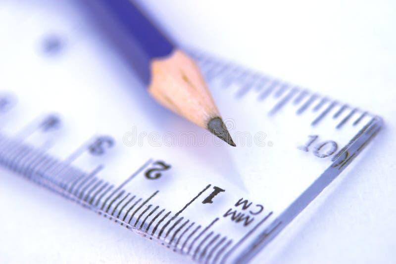 Mathematics. Pencil and ruler,pencil tip sharp,shallow focus