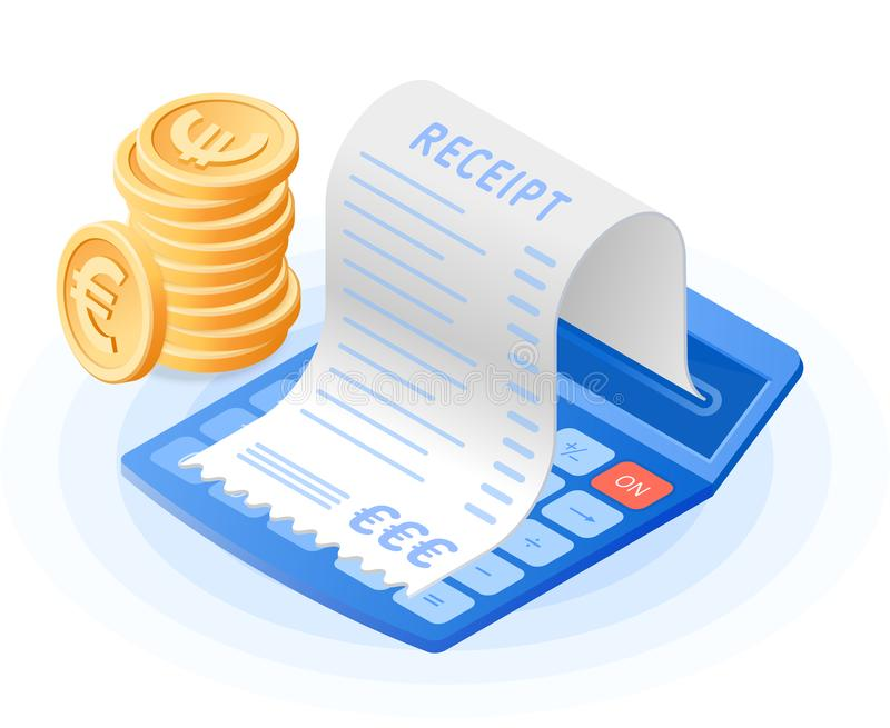 The mathematics calculator, paper bill payment, stack of euro co vector illustration