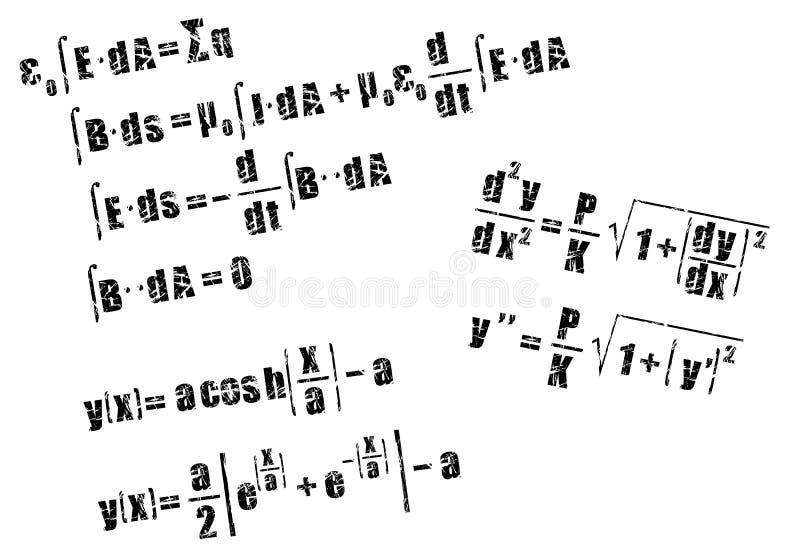 Mathematics, calculus equation. Calculus equation in grunge style stock illustration