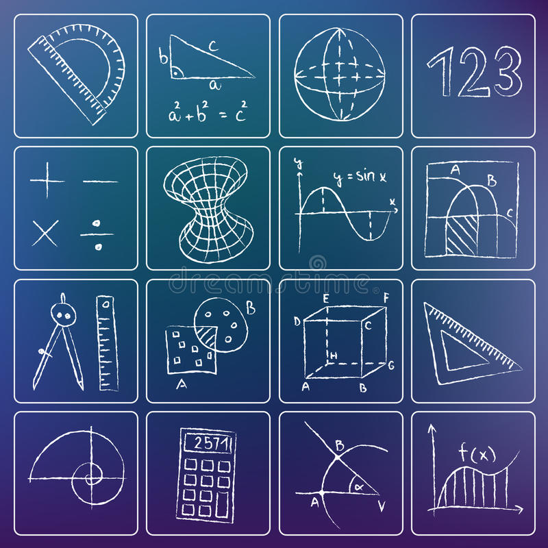 Mathematics chalky icons royalty free illustration